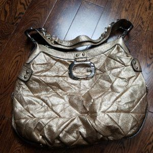 NWOT Guess gold metallic patch work hobo bag